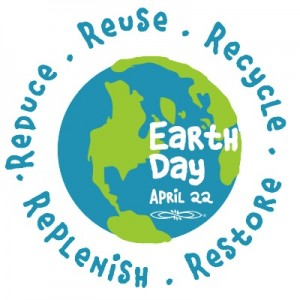 Earth Day April 22 - Reduce Reuse Recycle Restore Replenish